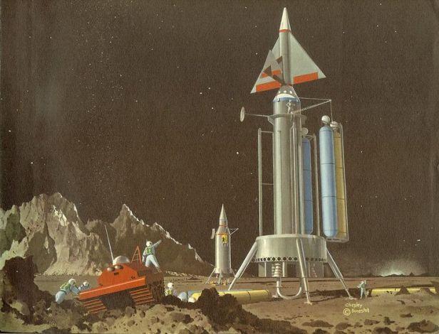 moon rocket - bonestell 1960